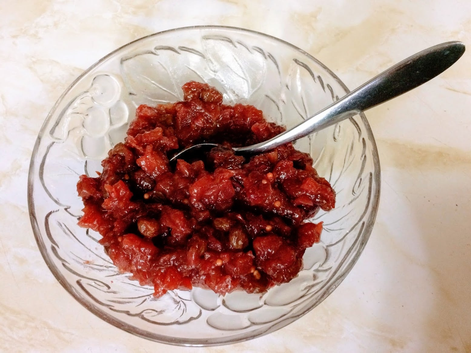 Cranberry Apple Chutney in a bowl