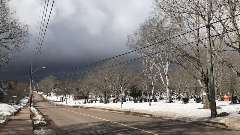 Winter street with dark clouds